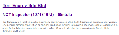 Oil Gas Vacancies Ndt Inspector Torr Energy Sdn Bhd Bintulu