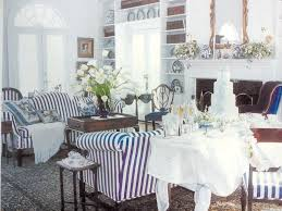 Striped Living Room Chairs A Traditional Living Room With Navy White Striped Sofas And Blue
