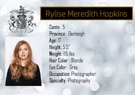 Rylise Meredith Hopkins, 17, Caste 5, Denbeigh, Photographer (submitted by  Of Darkness and of Light, portrayed by Imo… | Reality tv stars, Pre med  student, Tv stars