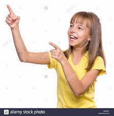 Pretty teen girl pointing model
