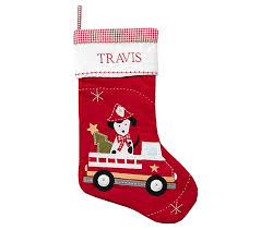 firetruck dog quilted stocking