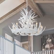 ont white antler chandelier 9 light modern painting candle throughout white antler chandelier view