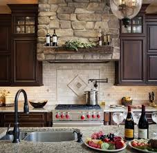 brick backsplash ideas. Travertine Backsplash Ideas With Stone Wall Decor For Provincial Kitchen Design Brick E