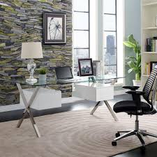 Stainless steel office desk Glass Table Houzz Abeyance Stainless Steel Office Desk White Casaza