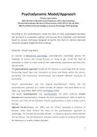 Psychodynamic Approach Psychodynamic Model Approach By Theresa Lowry Lehnen