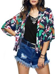 Chic Collarless Tropical Hit Color Print Short Kimono In L