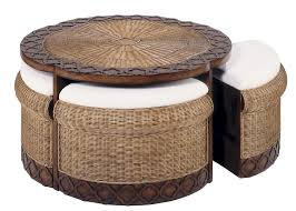 furniture furniture glass top wicker coffee table canyon finish fully round ottoman crosley catalina outdoor
