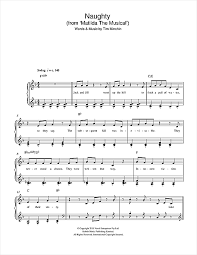 musical sheet naughty from matilda the musical sheet music by tim minchin