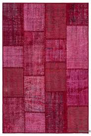 red over dyed turkish patchwork rug 3 11 x 5