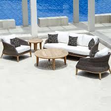 modern teak round patio coffee table