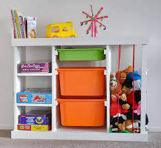 diy toy organizer with books board bins and soft toys