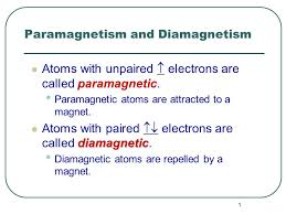 1 Paramagnetism And Diamagnetism Atoms With Unpaired Electrons