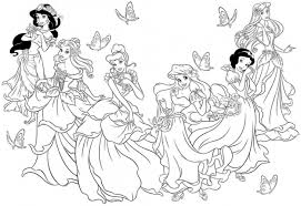 Beautiful Disney Princesses Coloring Pages Coloringstar