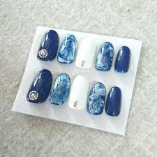 メルカリ 青 マーブル ネイルチップ ネイルチップ付け爪 300