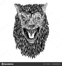 Divoký Vlk Hlava Rozzlobený čelní Plocha Burácející Vlkodlak Tattoo