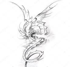 тату эскизы трайбл дракон искусство татуировки эскиз средневековый