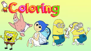 Sponge Bob Inside Out Minions Coloring Pages 2 Youtube