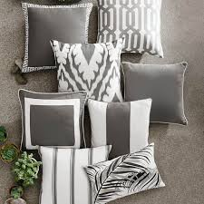 Sunbrella Outdoor Solid Pillow Cover with Piping Gray