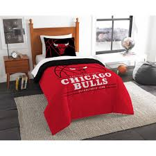 twin chicago bulls bed comforter set nba bedding microfiber cover red collection