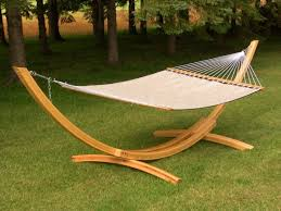 Outdoor Design: Curved Wooden Hammock Stand Combine White Cloth With 4 Pole  Hammock