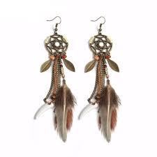 Dream Catcher Earing Hippie Feather Dreamcatcher Earrings wolvestuff 27