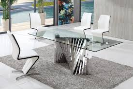 plisset glass dining table with white amari dining chairs set