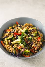 Asian vegetarian brown rice