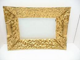 details about hollywood glamour rectangular glass serving tray w gold leaf accents