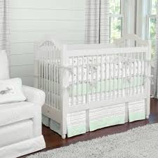 silver gray and mint fawn crib bedding