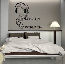 wall decal music headphones teen girl room art mural vinyl