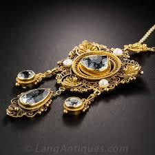18k antique aquamarine pendant necklace previous to enlarge photo to enlarge photo