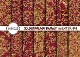 Gold Damask Background Digital Burgundy And Gold Damask Paper Gold And Bordeaux Printable Paper Gold Damask Background Instant Download Personal Or Commercial Use