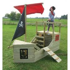 outdoor pirate galleon wooden playhouse physical development from early years resources uk