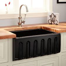 24 adams fireclay lightweight reversible farmhouse sink fluted front black
