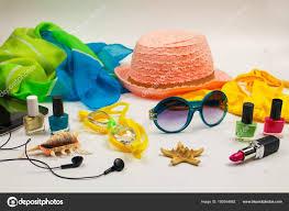 Letní Dámské Plážové Doplňky Moři Bílém Pozadí Stock Fotografie
