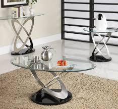 homelegance firth oval glass sofa table in chrome  black metal