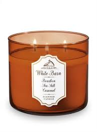 bourbon bath and body works bourbon sea salt caramel 3 wick candle white barn bath body works