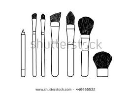 makeup set vector icon sketch brushes