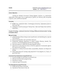 Qtp Sample Resume For Software Testers Unique Automation Tester
