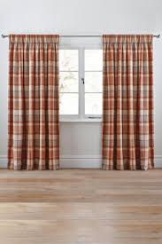 ginger rustic woven check pencil pleat curtains from the next uk