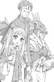 小説挿絵 少女と龍人と男 空想の生き物のイラスト子供女のイラスト
