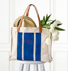 personalized striped canvas tote with leather handles view 1