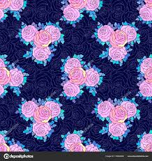 fl decorative bright wallpaper with cute roses seamless pattern in lilac colors on blue background