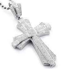 large sterling silver mens diamond cross pendant 1 14ct main image