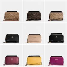 ... New Coach F53896 F53937 Double Zip Phone Wallet Signature Leather  Wristlet NWT ...