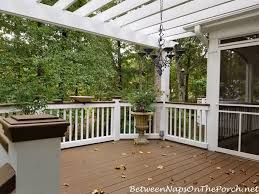 A high build coating designed to protect, resurface and repel water on old damaged wood and concrete. Deck Before And After With Lodge Brown Solid Stain For The Deck And Railings Between Naps On The Porch
