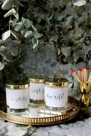 diy wood wick candles made from soy wax and essential oils with free printable labels