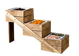 picture of three tier rustic wooden display stand 18x56x33cm