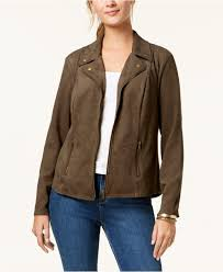 style co women s green faux suede moto jacket created for macy s
