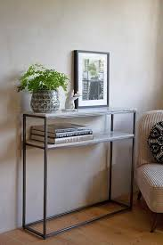 two tier marble shelf console table